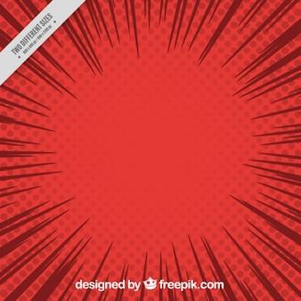 ポップアートスタイルで漫画赤い背景