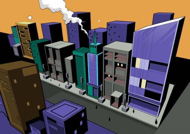 Comic scene, city background for making illustrations in print media or website.