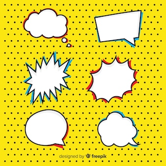 Comic shaped and colored speech bubbles