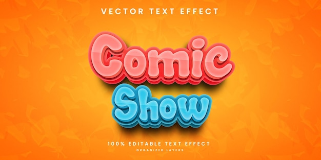 Comic show editable text effect