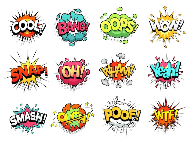 Comic sign clouds. boom bang, wow and cool speech bubbles