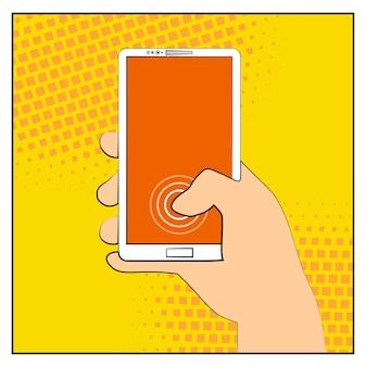 ハーフトーンの影が付いたコミックスマートフォン。スマートフォンを持っている手。ポップアートのレトロなスタイル。フラットなデザイン。ベクトルイラストeps10