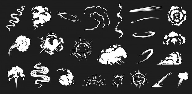 Comic smoke. smoke puffs vfx, energy explosion effect and cartoon blast  illustration set