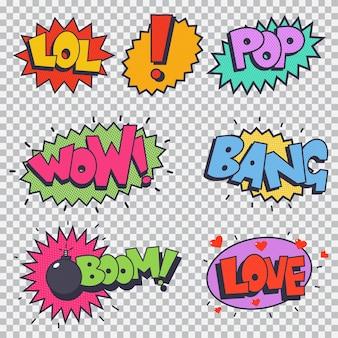Комикс звуковой эффект мультяшный набор изолированных