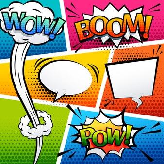 Comic sound effect speech bubble pop art cartoon style