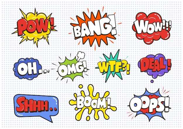 Comic sound speech effect bubbles set isolated on white