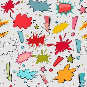 만화 연설 거품과 음향 효과 벡터 완벽 한 패턴입니다. 벽지, 포장, 포장 및 배경을 위한 배경입니다.