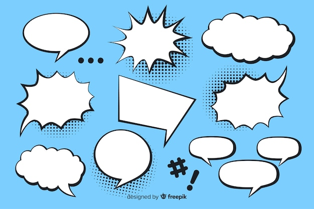 Comic speech bubble collection blue background