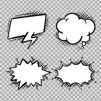 Comic speech bubble collection freehand drawing isolated on background.