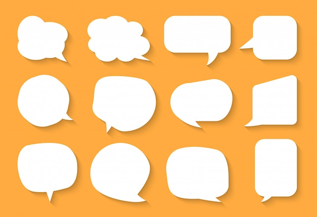 Comic speech bubble set. cartoon empty text box clouds. different shapes abstract icon flat blank bubbles. comics message balloon