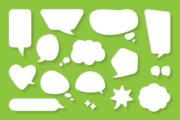 Comic speech bubble set. cartoon empty text box clouds. different shapes abstract icon flat blank doodle bubbles. comics message balloon