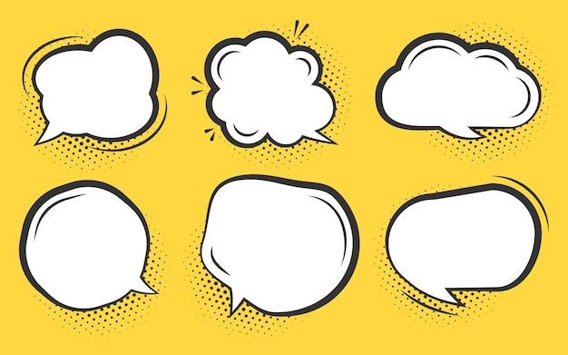 コミック吹き出しセット。ハーフトーンドットシャドウと漫画の空のテキスト雲。さまざまな形の空白のポップアートラインの落書きの泡。コミックメッセージバルーンテンプレート。オレンジに分離