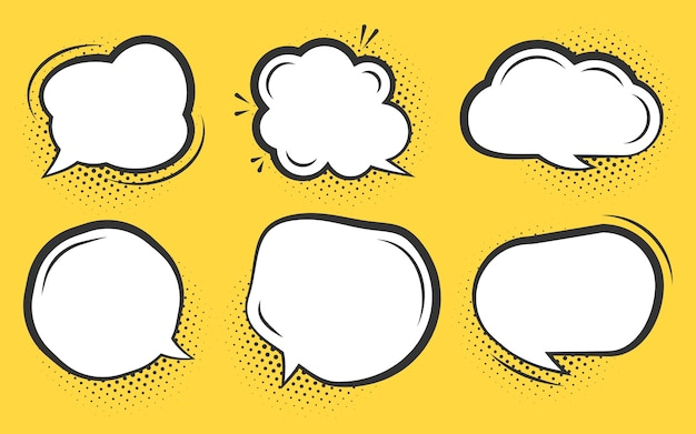 Comic speech bubble set. cartoon empty text clouds with halftone dot shadow. different shapes blank pop art line doodle bubbles. comics message balloon template. isolated on orange