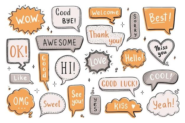Комический речевой пузырь с диалоговым словом привет, хорошо, пока, добро пожаловать. ручной обращается эскиз каракули стиль. векторная иллюстрация речи пузырь чат, элемент сообщения.