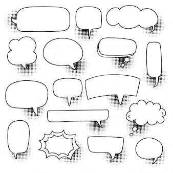 Comic speech bubble set with halftone shadow