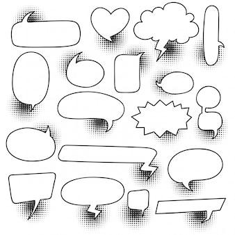 Comic speech bubble set with halftone shadow