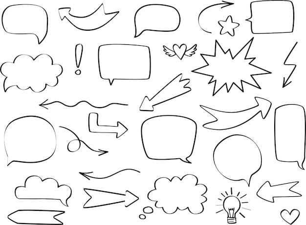 둥근, 별, 구름, 화살표가 있는 만화 말풍선. 손으로 그린 스케치 낙서 스타일. 벡터 일러스트 레이 션 연설 거품 채팅, 견적 텍스트에 대 한 메시지 요소입니다.