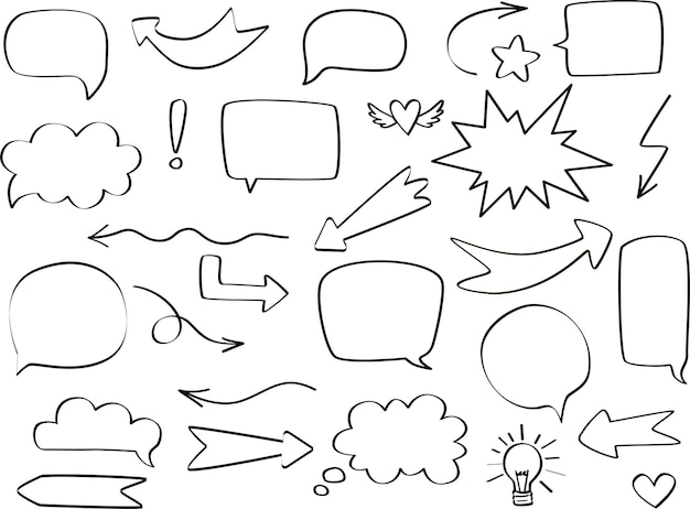Comic speech bubble set with round, star, cloud and arrows. hand drawn sketch doodle style. vector illustration speech bubble chat, message element for quote text.