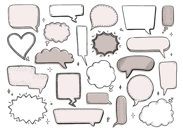 Comic speech bubble set with round, star, cloud shape. hand drawn sketch doodle style. vector illustration speech bubble chat, message element for quote text.