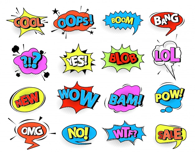 Comic speech bubble set with text