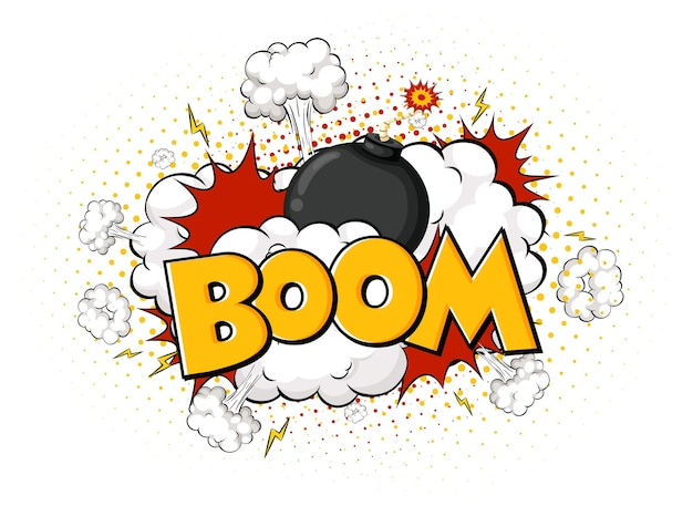 Comic speech bubble with boom text