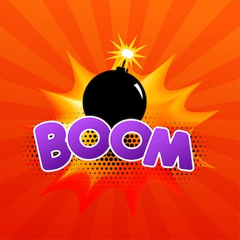 Comic speech bubble with burning bomb and text