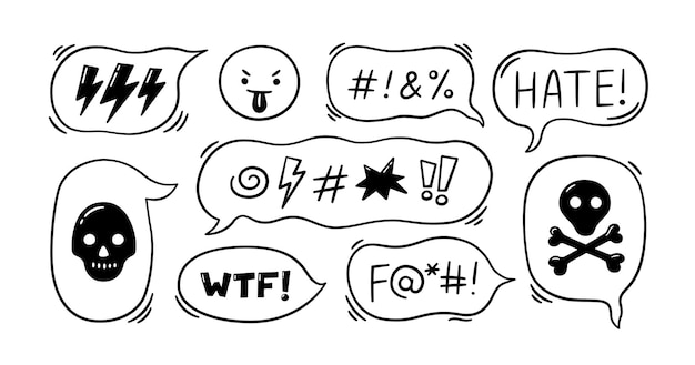 Comic speech bubble with swear words symbols. hand drawn speech bubble with curses, lightning, skull, bomb, bones. angry face emoji. vector illustration isolated in doodle style on white background