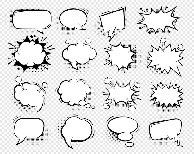 Comic speech bubbles. blank talk clouds for dialog text with halftone shadows, cartoon empty white thought balloons vintage set.