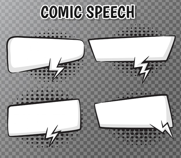 Comic speech bubbles collection on transparent