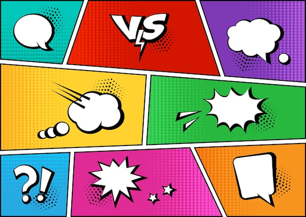Comic speech bubbles and elements on colorful background dots halftone shadow illustration
