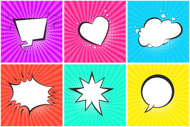 Comic speech bubbles on halftone banner set
