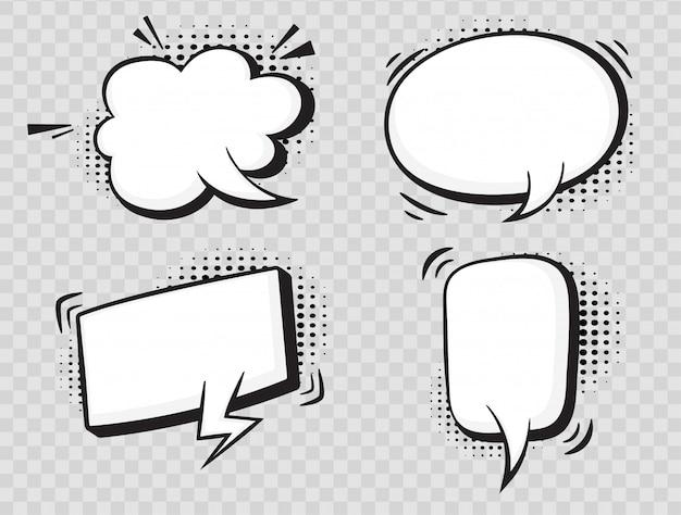 Comic speech bubbles on halftone transparent background.