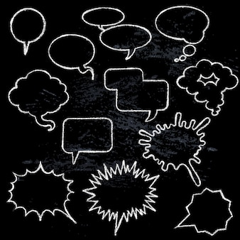 Comic speech bubbles icons collection various shapes on black background