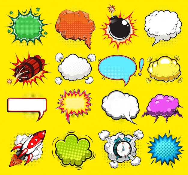 Comic speech bubbles illustration
