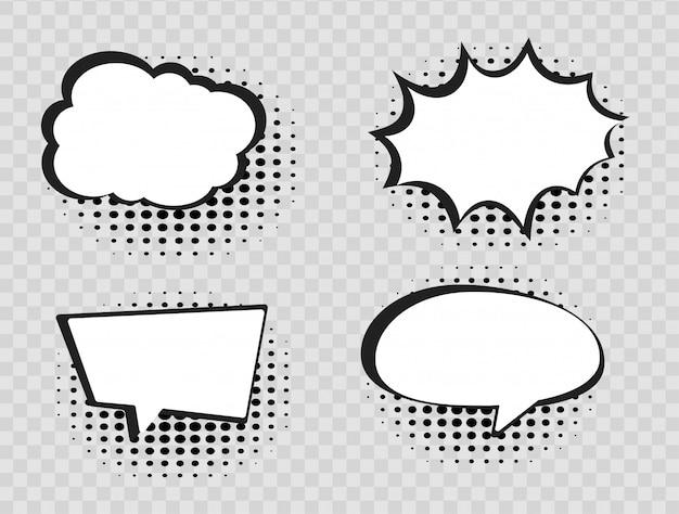 ハーフトーンの透明な背景にコミック吹き出し。