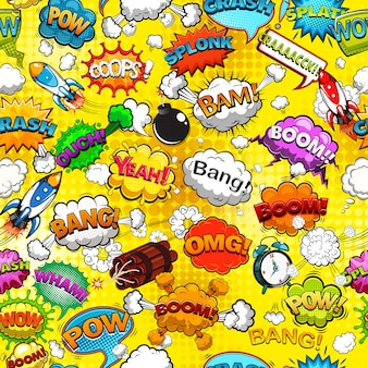 Comic speech bubbles seamless pattern on yellow background illustration