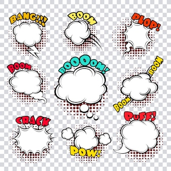 Comic speech bubbles set. design cartoon, graphic communication, vector illustration