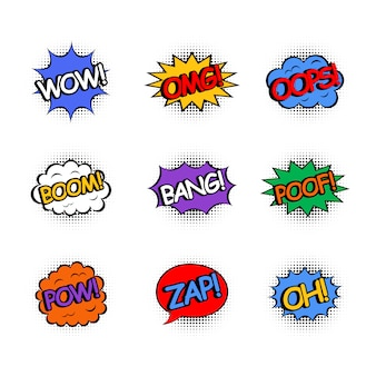 Comic speech bubbles set isolated