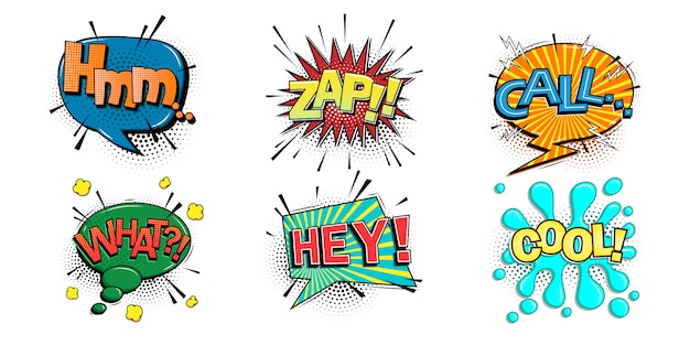 Comic speech bubbles set with different emotions and text hmm,zap,call,what,hey,cool