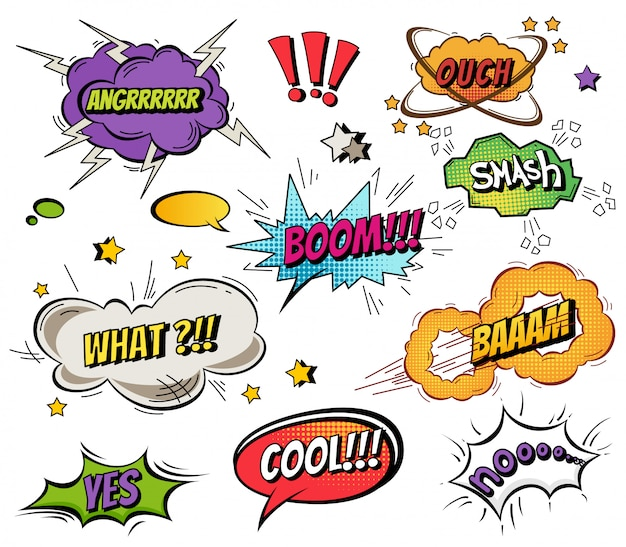 Comic speech bubbles and splashes set