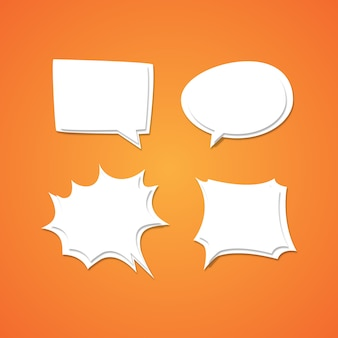 Comic speech bubbles template in paper style