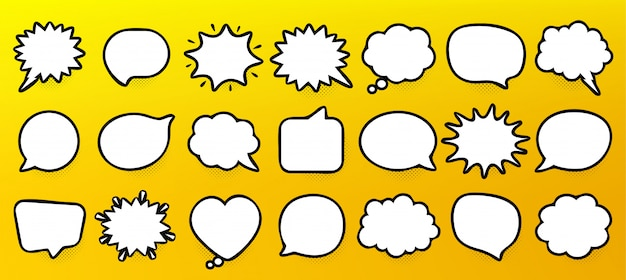 Comic speech bubbles. thinking and speaking clouds. retro bubbles shapes. halftone shadow.