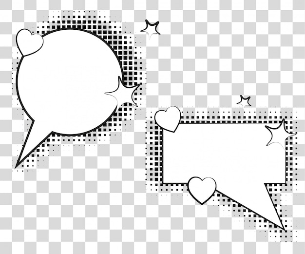 Comic speech bubbles with halftone shadows.