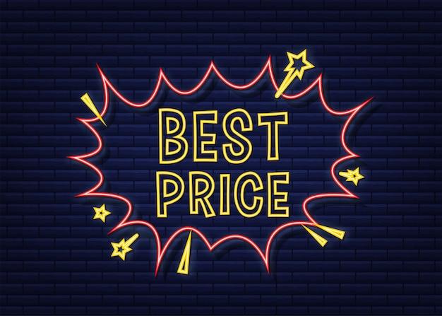 Комические пузыри речи с текстом лучшая цена. неоновая иконка. символ, наклейка, этикетка со специальным предложением, рекламный значок. векторная иллюстрация штока.
