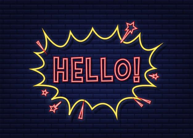 텍스트 hello와 만화 연설 거품입니다. 네온 아이콘입니다. 빈티지 만화 그림입니다. 벡터 재고 일러스트 레이 션.