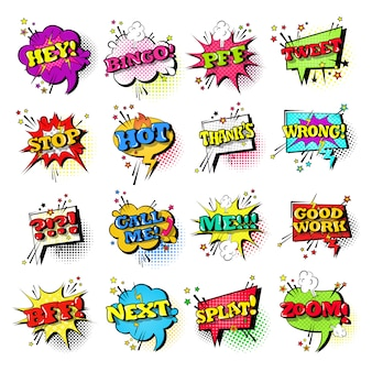 Comic speech chat bubble set pop art style sound expression text icons collection