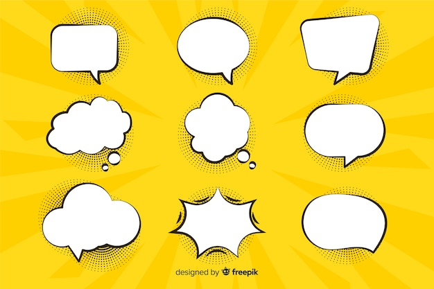 Comic speech and dialogue bubbles