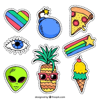 Comic stickers with funny style