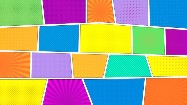 Comic strip background. different colorful panels. rays, lines, dots.