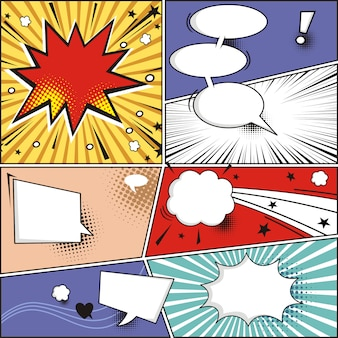Comic strip and comic speech bubbles on colorful halftone vector illustration